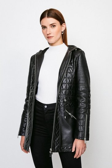 Black Leather Multi Stitch Quilted Short Coat