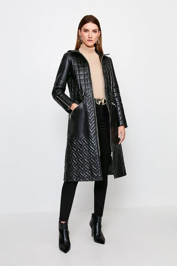 Black Leather Multi Stitch Quilted Long Coat