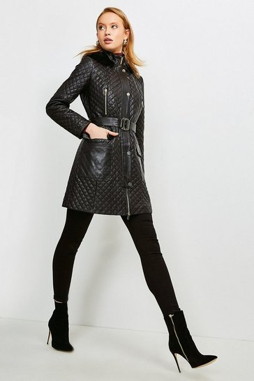 Black Leather Quilted Parka Coat