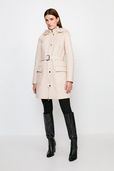 Stone Leather Quilted Parka Coat
