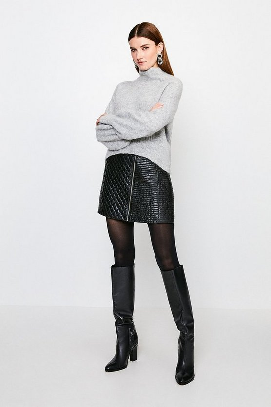 Black Leather Quilted Zip Mini Skirt