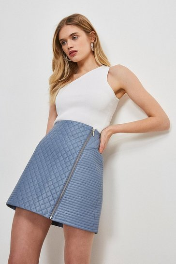 Dusty blue Leather Quilted Zip Mini Skirt