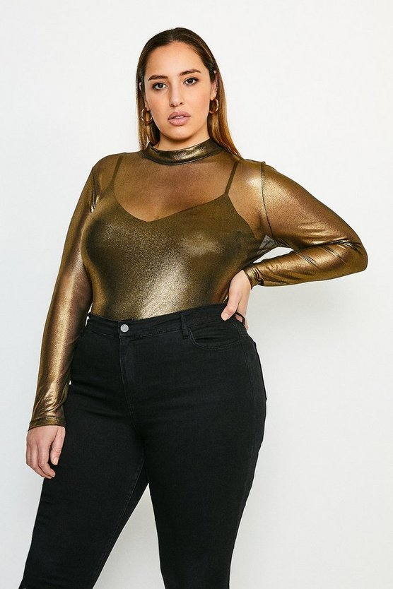 Gold Curve Foiled Mesh Funnel Jersey Top
