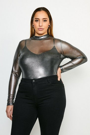Silver Curve Foiled Mesh Funnel Jersey Top