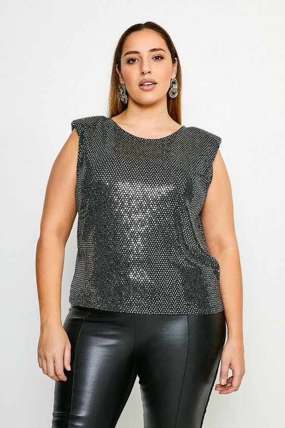 Black Curve Sequin Shoulder Pad Jersey T-Shirt