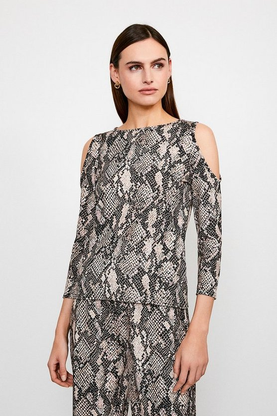 Lounge Snake Print Jersey Cold Shoulder Top