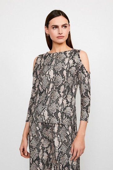 Snake Print Jersey Cold Shoulder Lounge Top
