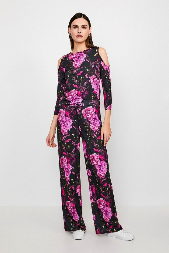 Jersey Floral Wide Leg Lounge Pant