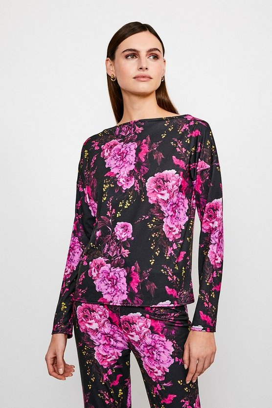 Jersey Floral Batwing Lounge Top