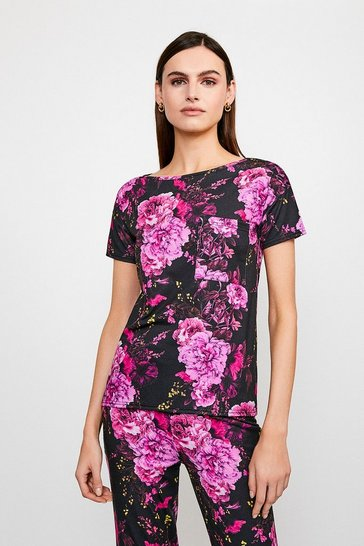 Jersey Floral Short Sleeve Lounge Top