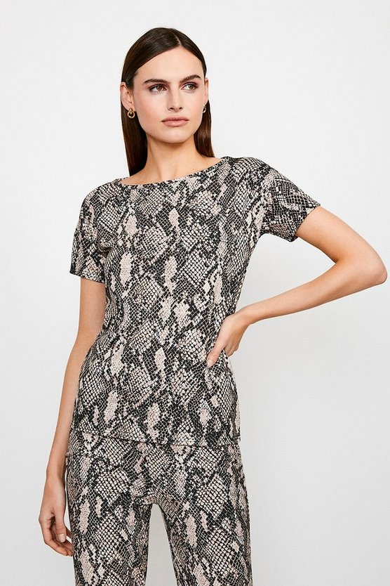 Lounge Jersey Snake Print Short Sleeve Top