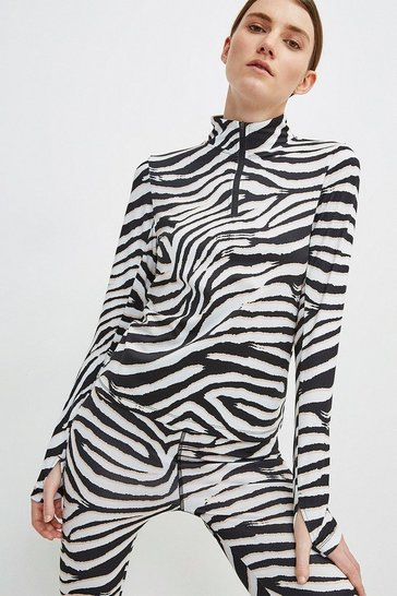 Zebra Ski Layer Top With Zip