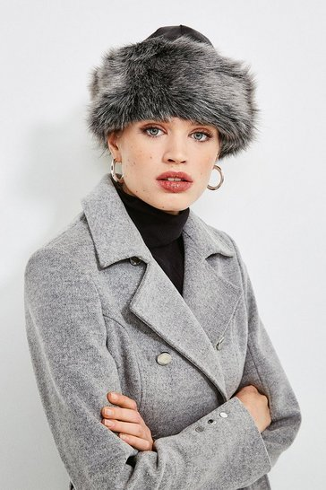 Black Leather And Shearling Hat