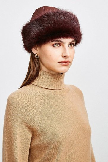 Wine Leather And Shearling Hat