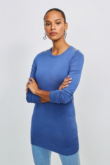 Mid blue Trim Detail Knitted Tunic