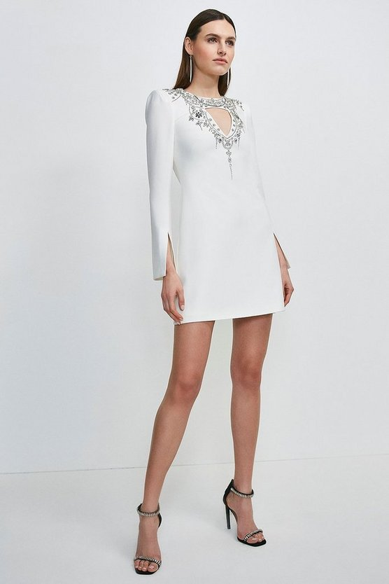 Ivory Crystal Embellished Cape Sleeve Dress