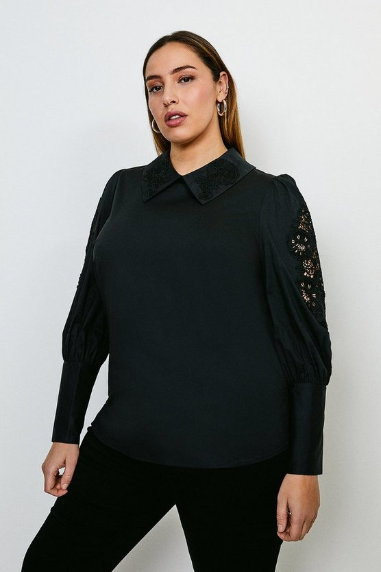Black Curve Cotton Poplin Cutwork Blouse