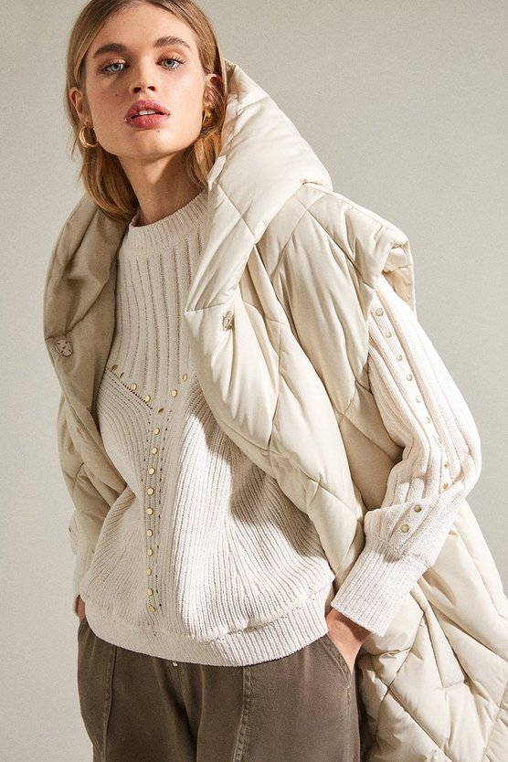 Ivory Chenille Shoulder Studded Jumper