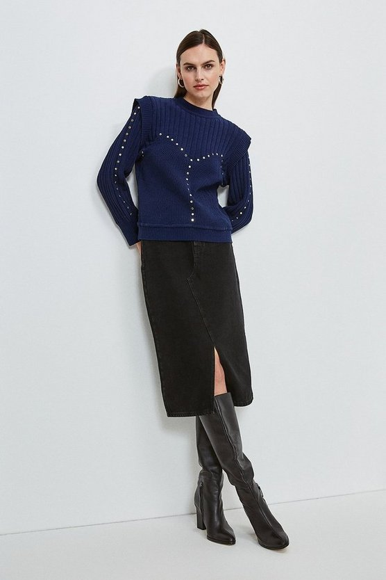 Navy Chenille Shoulder Studded Jumper