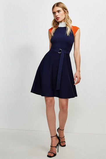 Navy High Neck Knitted Skater Dress