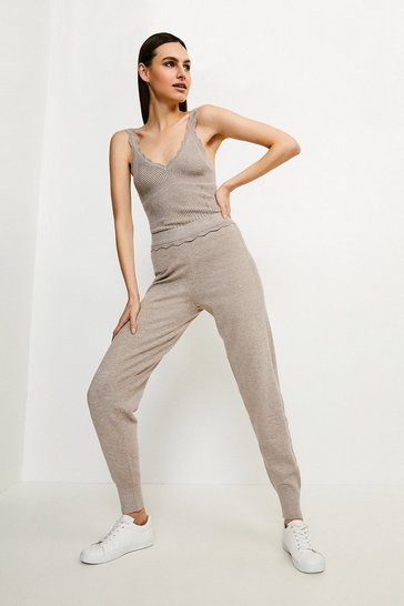 Taupe Corset Knit Jogger