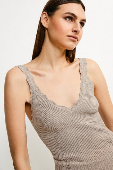 Taupe Corset Knit Cami