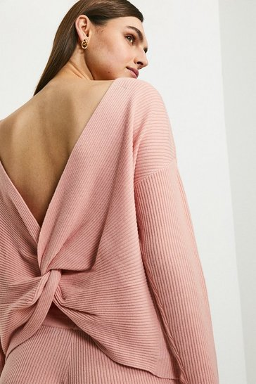 Blush Cashmere Blend Twist Back Jumper