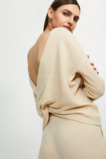 Oatmeal Cashmere Blend Twist Back Jumper