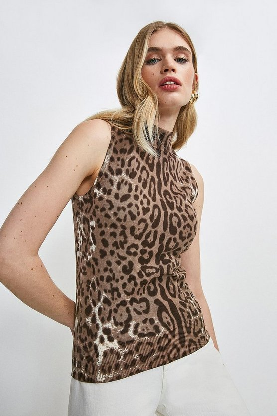 Leopard Funnel Neck Printed Knit Vest