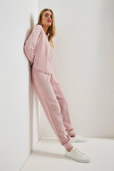 Pink Soft Yarn Rivet Cuffed Jogger