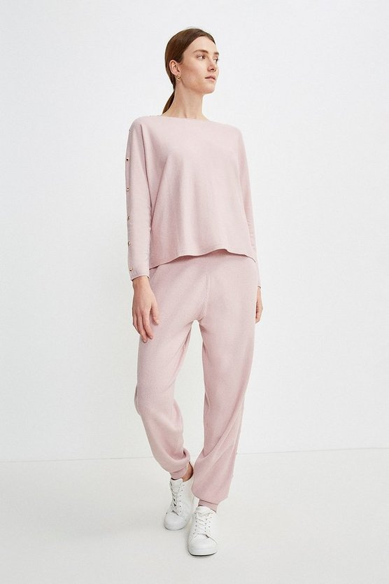 Pink Soft Yarn Rivet Knit Jumper