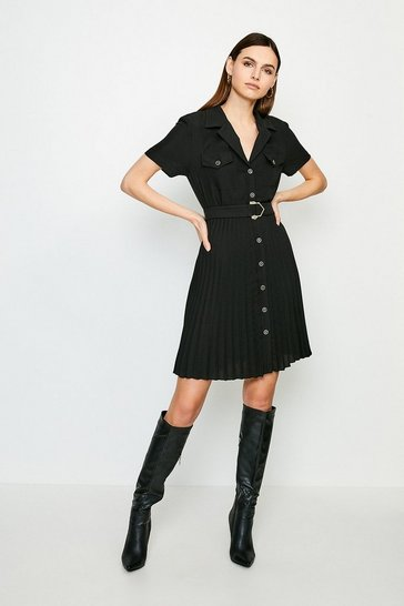 Black Luxe Utility Pleated Dress