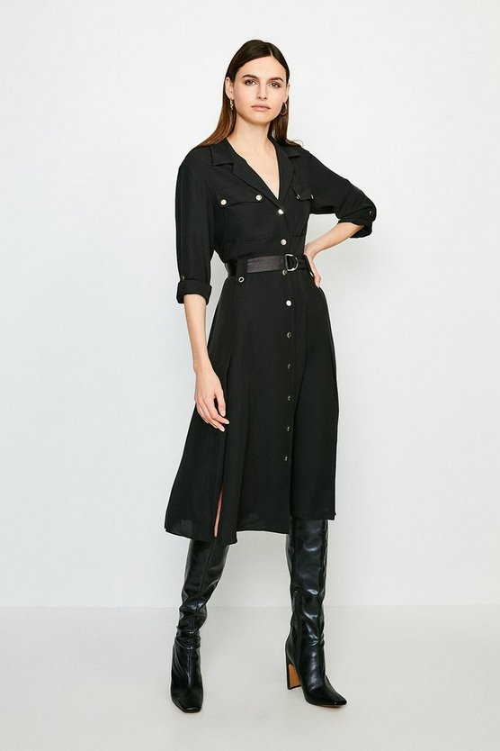 Black Luxe Utility Shirt Dress
