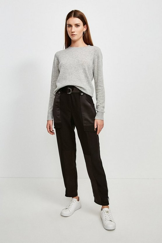 Black Luxe Utility Trouser