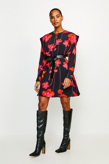 Black Ruffle Shoulder Detail Floral Dress