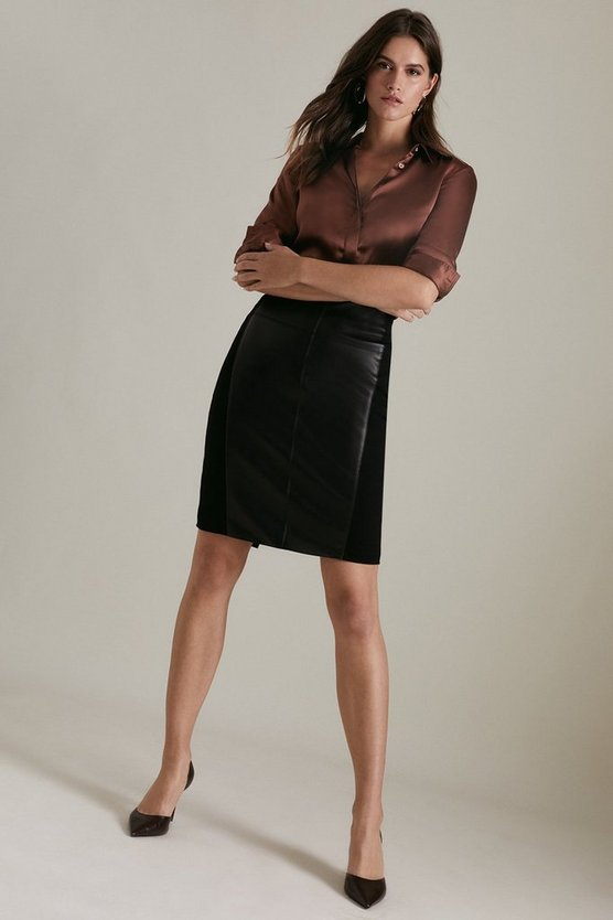 Black Faux Leather Ponte Panelled Skirt