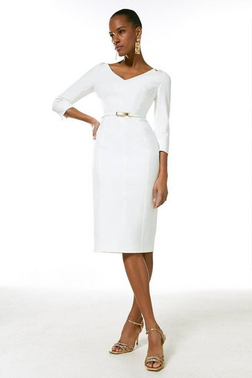 Ivory Forever Bar Belt Dress