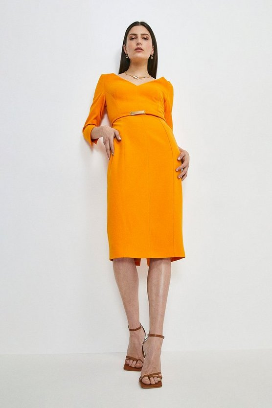 Orange Forever Bar Belt Dress