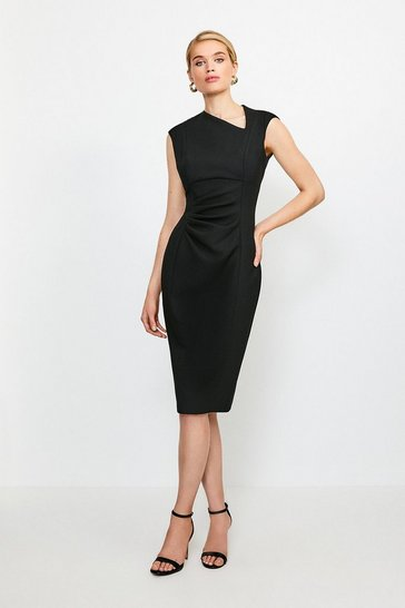 Black Asymmetric Tuck Detail Dress