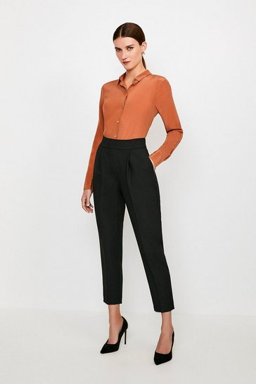 Black High Waisted Tailored Trousers