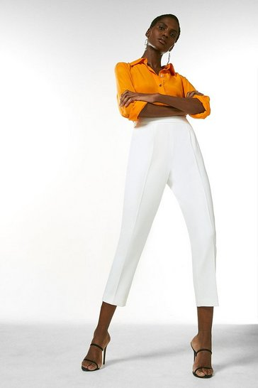 Ivory High Waisted Tailored Trousers