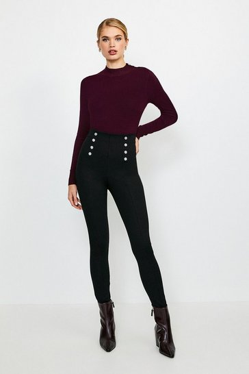 Black Stretch Ponte Snap Front Legging