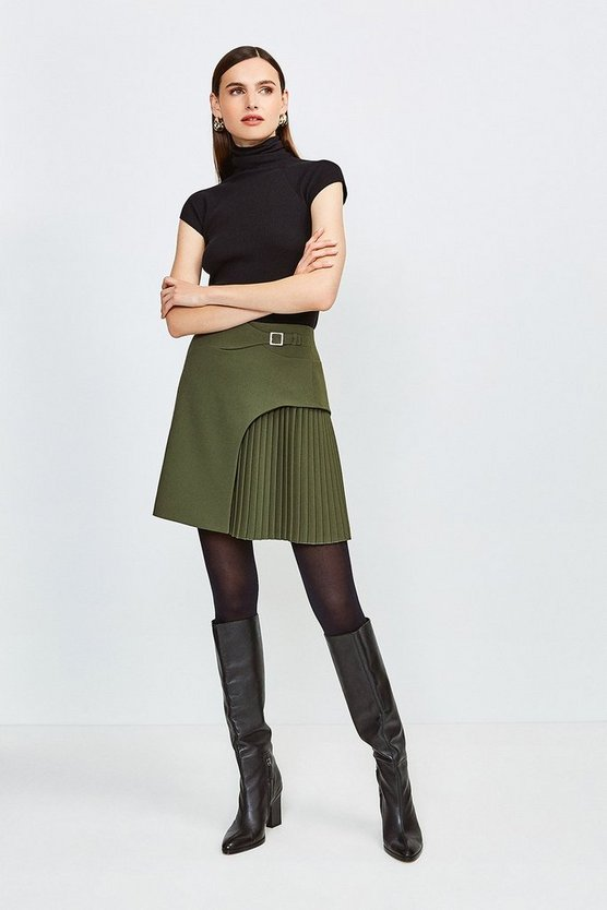 Khaki Buckle Detail Pleated Mini Skirt