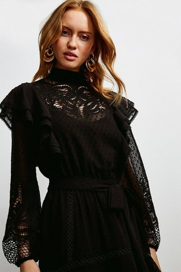Black Cutwork Embroidery Textured Dress With Belt