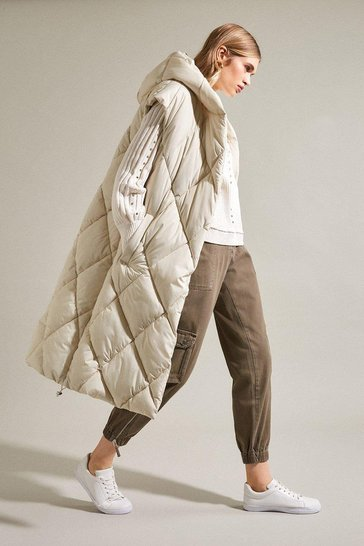 Champagne Hooded Longline Quilted Gilet