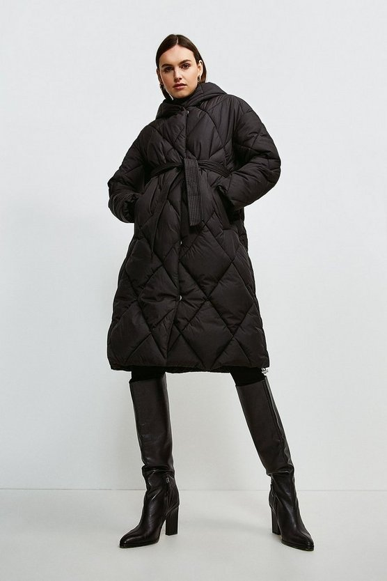 Black Hooded Longline Quilted Coat