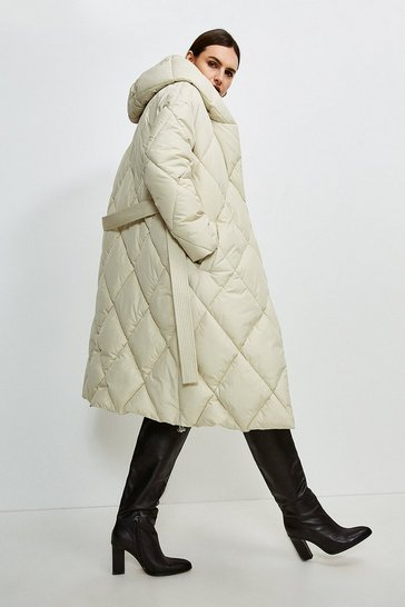 Champagne Hooded Longline Quilted Coat