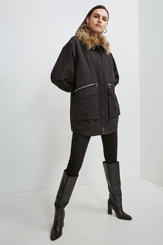 Black Multi Way Removable Faux Fur Lined Parka