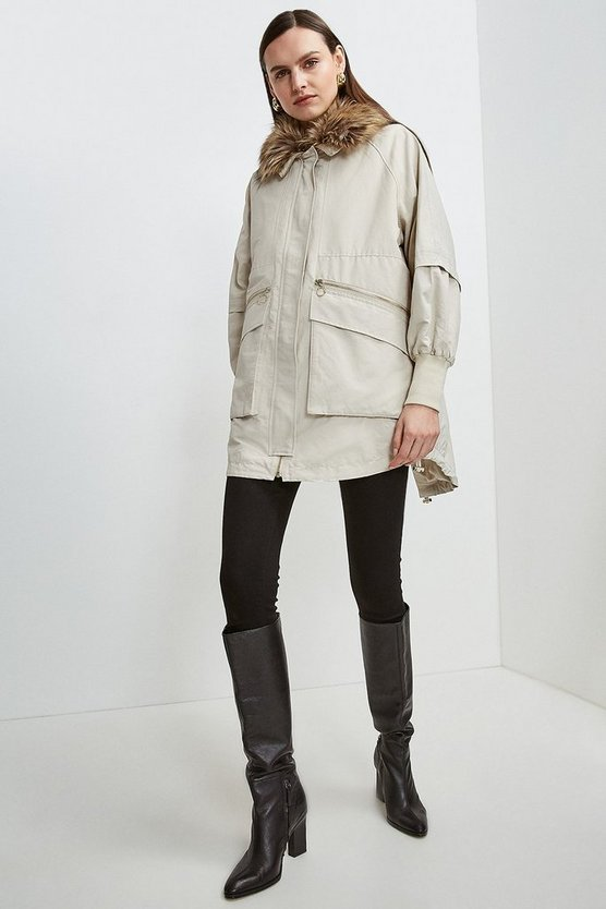 Stone Multi Way Removable Faux Fur Lined Parka