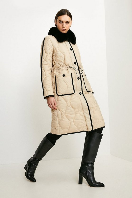 Cream Faux Fur Collared Quilted Coat